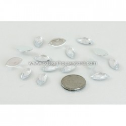 Glass Bead Marquise Flat Clear 004 (10pcs)