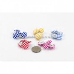 Cloth Gingham Shank Button 20pcs BUT-057