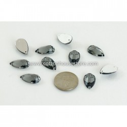 Glass Bead Marquise Flat 007 Black (10pcs)