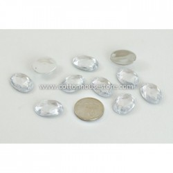 Glass Bead Oval Flat Clear 006