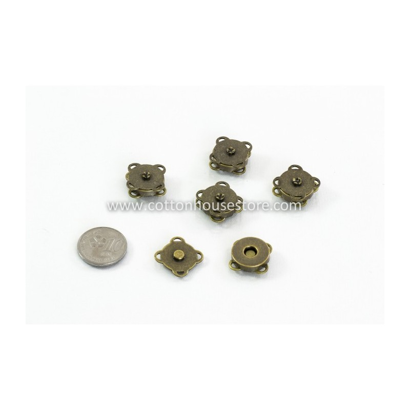 Magnetic Purse Snap Bronze Tone 14mm (Sew Type) 2 sets