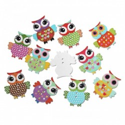Owl Wood Button Design 2 (10pcs) BUT-087