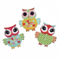Owl Wood Button Design 2...