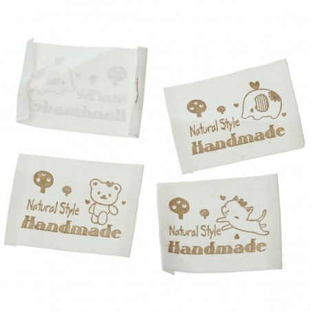 Cotton Woven Label Natural Style Handmade (10pcs)