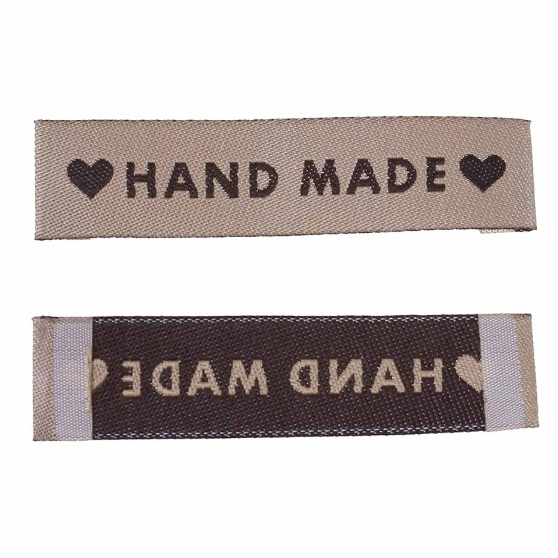 "Labels Light Coffee ""Hand Made"" with heart 60mm x 15mm"