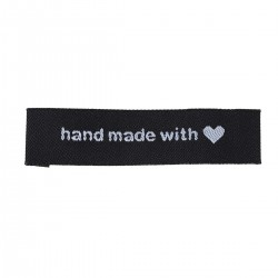 Labels Black 'Hand Made with' with heart 60mm x 15mm (10pcs)