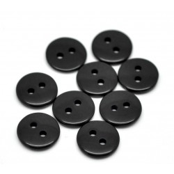 Black Round 2 Holes Resin Sewing Buttons 11mm 20pcs BUT-090