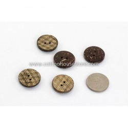 Coconut Shell Button Gingham 23mm (5pcs) BUT-032