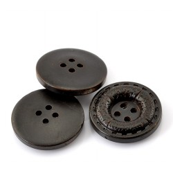 "Dark Brown Round Textured 4 Holes Resin 22mm (7/8"") 5pcs BUT-091"