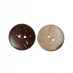 """Coconut Shell Round 2 Holes Brown 28mm(1 1/8"""") 10pcs BUT-093"""