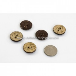 Coconut Shell Button Heart 23mm (5pcs) BUT-028