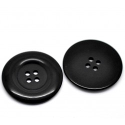 "Black Round 4 Holes Resin 38mm (1 4/8"") 3pcs BUT-095"