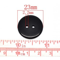 Black Round 2 Holes Resin 23mm (10pcs) BUT-096
