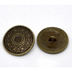 Bronze Tone Metal Pattern 25mm (2pcs) BUT-097