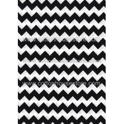 Cotton Fabric 20062 Small Zig Zag Black 4mm