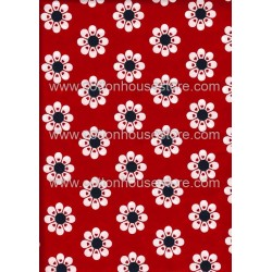 Cotton Fabric 20067 Flowers Red 4m
