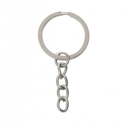 Silver Tone Keychain & Keyring 53mm long (5pcs)