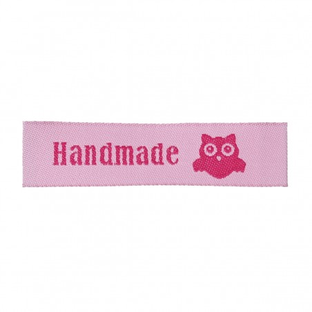 Labels Pink 'Handmade' with Owl 60mm x 15mm (10pcs)