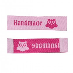 "Labels Pink ""Handmade"" with Owl 60mm x 15mm"