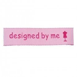 "Labels Pink ""designed by me"" 60mm x 15mm (10pcs)"