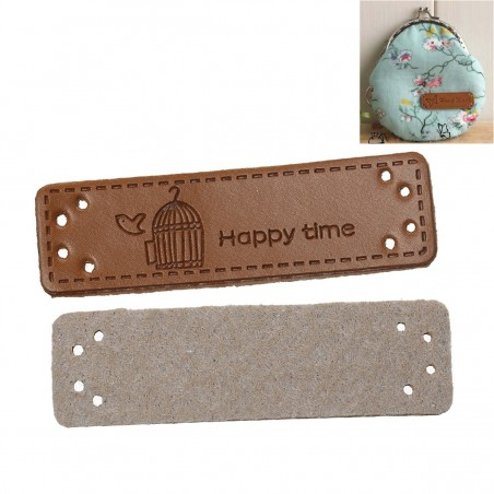 "Labels PU Leather ""Happy Time"" 50mm x 15mm (5pcs)"
