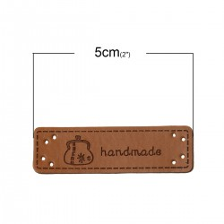 "Labels PU Leather ""Handmade"" 50mm x 15mm (5pcs)"