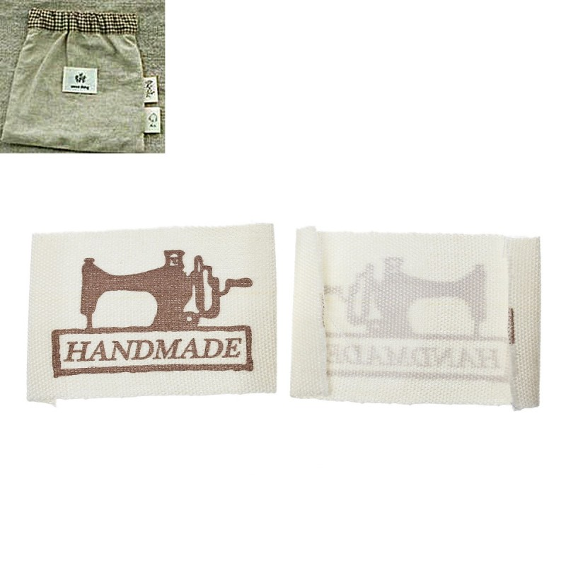 """Labels """"HANDMADE"""" with sewing machine 49mm x 25mm (10pcs)"""