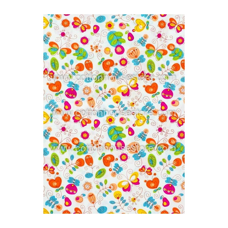 Cotton Fabric 30024-H Flowers 1m