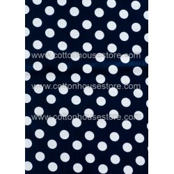 Cotton Fabric 30021-X Dots Dark Blue BG15mm 1m