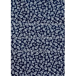 Cotton Fabric 30037-R Flower Dark Blue BG 17x11mm 1m