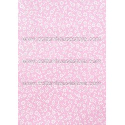 Cotton Fabric 30035-R Flower Light Pink BG 17x11mm 1m