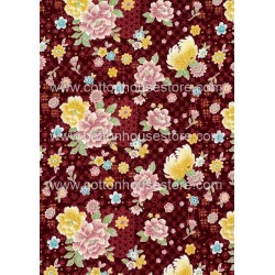 Cotton Fabric 30060-R Flower Maroon BG 1m