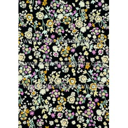 Cotton Fabric 30066-R Flower Black BG 1m