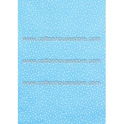 Cotton Fabric 30047-R Stars & Dots Baby Blue 4mm 1m