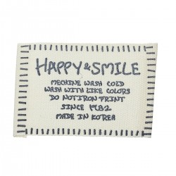 "Cotton Woven Label ""Happy & Smile"" (10pcs)"
