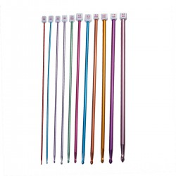 11 Sizes Aluminium Afghan Tunisian Crochet Hooks Set 2.0-8.0mm