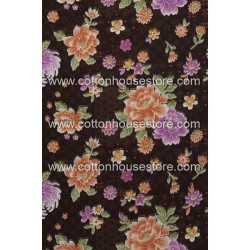Cotton Fabric 30085-R Flower Dark Brown BG 1m