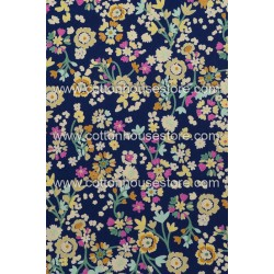 Cotton Fabric 30071-R Flower Navy Blue BG 1m