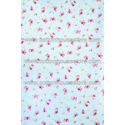 Cotton Fabric 30061-H Flowers Blue BG 1m