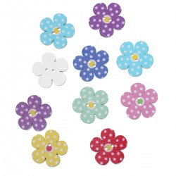 Wood Flower Buttons Dot 20pcs BUT-100