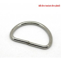 Silver Tone D RIng 15mm x 10mm (10pcs)