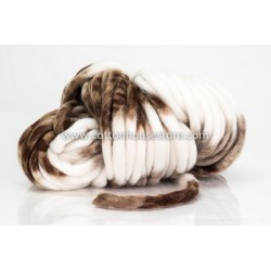 Super Bulky Acrylic Brown White 05