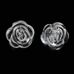 Rose Flower Silver Tone 10pcs BUT-069
