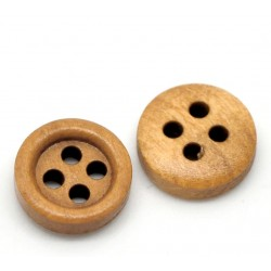 Medium Brown Small Wood Buttons 11mm (20pcs) BUT-026