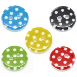 Mixed Dot Resin Buttons 15mm 20pcs BUT-023