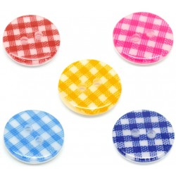Mixed Plaid Gingham Resin Button (20pcs) BUT-046