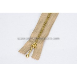 "Zipper 9"" Gold Teeth Light Brown"