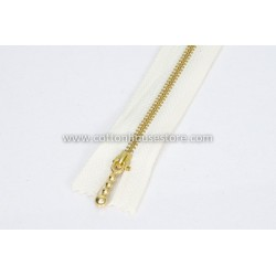 "Zipper 9"" Gold Teeth White"