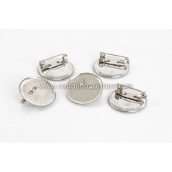Silver Tone Round Brooch 25mm (5 pcs)