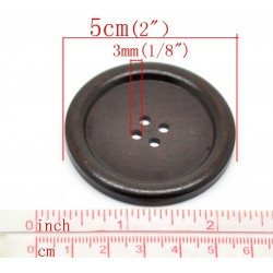 Wood Dark Coffee 50mm 2pcs 112